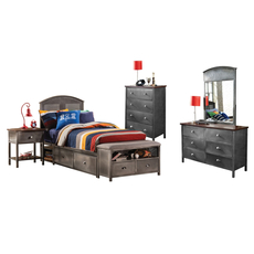 Hillsdale Furniture Urban Quarters 5 Piece Panel Storage Bedroom Set with Footboard Bench
