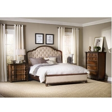 Hooker Furniture Leesburg King Upholstered Bedroom Set with Wood Rails