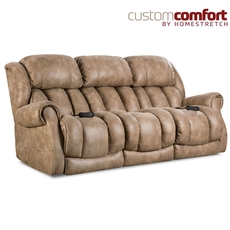 HomeStretch Atlantis Power Sofa with Power Headrest and Power Lumbar Foot Extension in Nougat