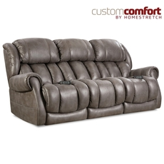 HomeStretch Atlantis Power Sofa with Power Headrest and Power Lumbar Foot Extension in Slate