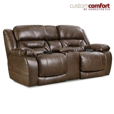 HomeStretch Enterprise Power Loveseat with Power Headrest and Power Lumbar Foot Extension in Walnut