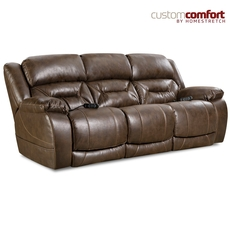 HomeStretch Enterprise Power Sofa with Power Headrest and Power Lumbar Foot Extension in Walnut