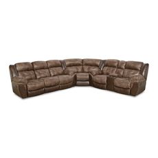HomeStretch Fenway Power Reclining Sectional in Taupe and Espresso
