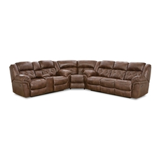 HomeStretch Frontier Power Reclining Sectional in Espresso