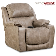 HomeStretch Starship Home Theater Recliner with Power Headrest and Power Lumbar Foot Extension in Mushroom