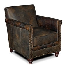 Hooker Furniture Old Saddle Fudge Crocodile Leather Club Chair