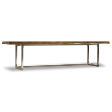 Hooker Furniture Live Edge Bench with Stainless Steel Base