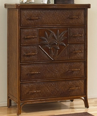 Hospitality Rattan Cancun Palm 5 Drawer Chest