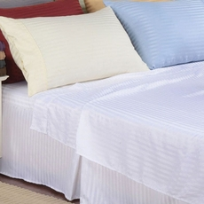 Clearance Impressions Microfiber Wrinkle Resistant Stripe Full Sheet Set in White OVLB0818099