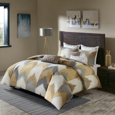 Clearance Ink & Ivy Alpine 3 Piece Full/Queen Duvet Cover Mini Set in Yellow OVLB0818134