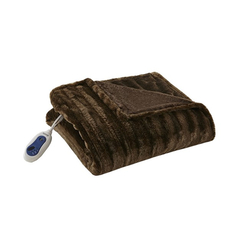 Beautyrest Heated Duke Faux Fur Heated Throw in Brown by JLA Home