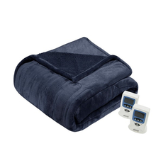 Beautyrest Heated Microlight to Berber Queen Blanket in Indigo by JLA Home