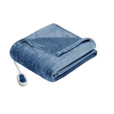 Beautyrest Heated Microlight to Berber Throw in Blue by JLA Home
