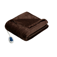 Beautyrest Heated Microlight to Berber Throw in Brown by JLA Home
