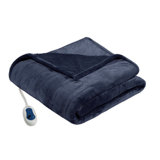 Beautyrest Heated Microlight to Berber Throw in Indigo by JLA Home