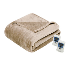 Beautyrest Heated Microlight to Berber Twin Blanket in Tan by JLA Home