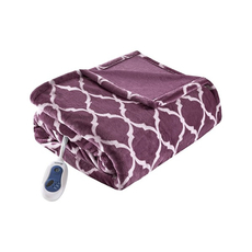 Beautyrest Heated Ogee Throw in Purple by JLA Home