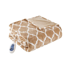 Beautyrest Heated Ogee Throw in Tan by JLA Home