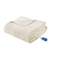 Beautyrest Heated Plush Throw in Ivory by JLA Home