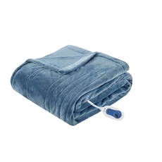 Beautyrest Heated Plush Throw in Sapphire Blue by JLA Home