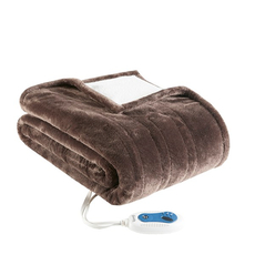 Beautyrest Heated Snuggle Plush to Berber Wrap in Chocolate by JLA Home