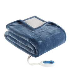 Beautyrest Heated Snuggle Plush to Berber Wrap in Sapphire by JLA Home