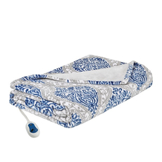Beautyrest Senna Heated Print Plush Throw in Indigo by JLA Home
