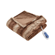 Beautyrest Zuri Oversized Faux Fur Heated Throw in Tan by JLA Home