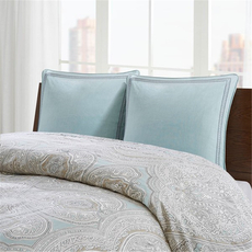 Echo Design Larissa Embroidered Cotton Euro Sham in Blue by JLA Home