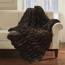 Hampton Hill Oversized Long Fur Throw in Brown by JLA Home