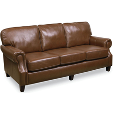 Lane Emerson Leather Queen Sleeper Sofa in Akron Bark Top Grain