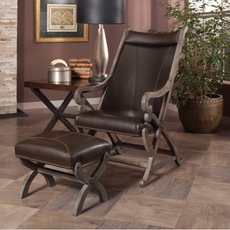Largo Hunter Chair and Ottoman in Dark Brown
