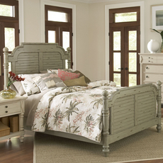 Largo Woodhaven King Bed in Distressed Green