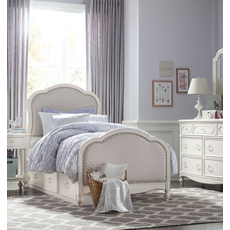Legacy Classic Kids Harmony Victoria Twin Upholstered Panel Bed with Underbed Storage Drawers