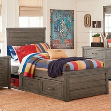 Legacy Classic Kids Bunkhouse Twin Louvered Trundle Panel Bed