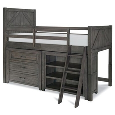 Legacy Classic Kids Bunkhouse Twin Mid Loft Bed with Single Dresser and Bookcase