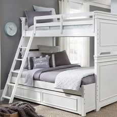 Legacy Classic Kids Canterbury Twin Over Full Trundle Bunk Bed in Natural White