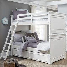 Legacy Classic Kids Canterbury Twin Over Twin Trundle Bunk Bed in Natural White