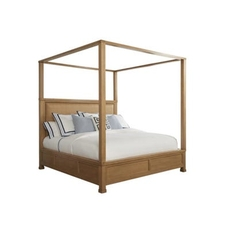Barclay Butera Newport Shorecliff King Canopy Bed in Sandstone