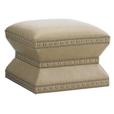 Lexington Laurel Canyon Wheatley Leather Ottoman in Ivory