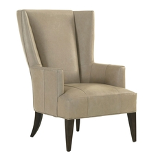 Lexington MacArthur Park Leather Brockton Wing Chair in Light Gray