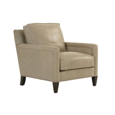 Lexington MacArthur Park Leather Foxboro Chair in Light Gray