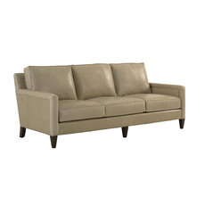 Lexington MacArthur Park Leather Foxboro Sofa in Light Gray