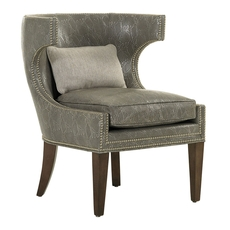 Lexington MacArthur Park Leather Greta Chair in Metallic Gray Animal Print