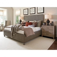 Tommy Bahama Cypress Point Driftwood Isle Woven Platform Queen Bedroom Set