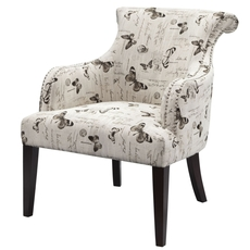 Madison Park Alexis Rollback Accent Chair in Mariposa Newsprint