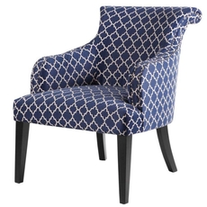Madison Park Alexis Rollback Accent Chair in Fretwork Navy