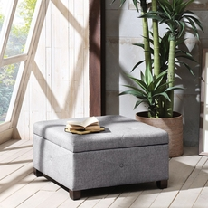 Madison Park Aspen Ottoman in Sandy Slate