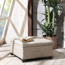 Madison Park Aspen Ottoman in Sandy Gold