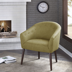 Madison Park Camilla Barrel Back Accent Chair in Roma Lime Mousse